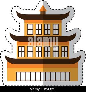 asian building castle icon - Stock Photo