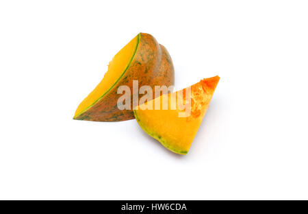 Slice pumpkin isolated on the white background - Stock Photo