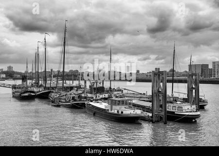 Hermitage Community Moorings, River Thames, London, England - Stock Photo