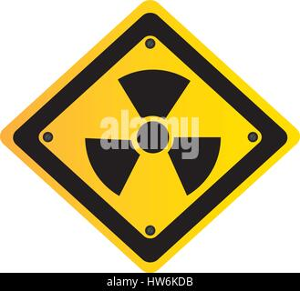 metal emblem warning radiation sign - Stock Photo