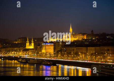 Matthias church, Fisherman's Bastion. Banks of Danube river. Budapest Hungary, Southeast Europe - Stock Photo
