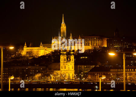 Matthias church, Fisherman's Bastion. Banks of Danube river. Budapest Hungary, Southeast Europe - Stock Photo