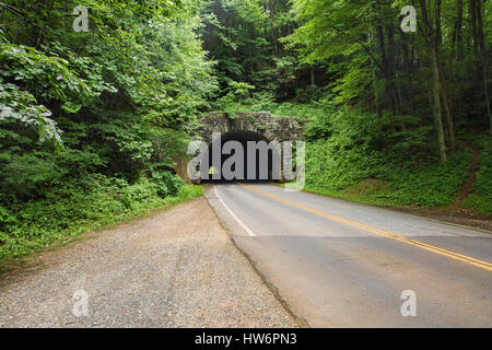 An arched stone tunnel surrounded by green trees on the Blue Ridge Parkway near Asheville, North Carolina - Stock Photo