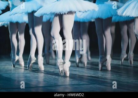 ballet swan lake. ballet statement. ballerinas in the movement. - Stock Photo