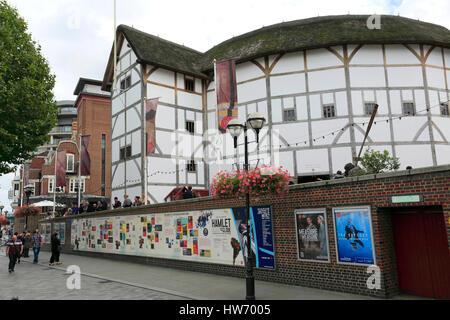 Shakespeares Globe Theatre, Bankside, Southwark, South Bank, London City, England, United Kingdom - Stock Photo