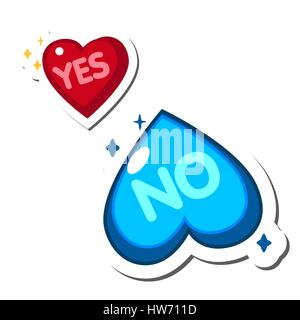 Two hearts, blue and red. Yes and No. - Stock Photo