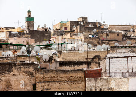 Fes, Morocco.  Satellite Dishes on Houses in the Medina (Old City), Fes El-Bali. - Stock Photo