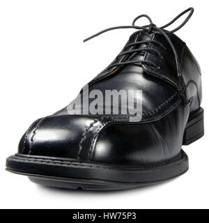 Classic formal men's black club shoe, isolated wide angle macro closeup - Stock Photo
