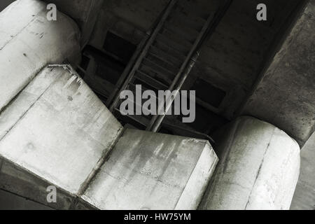 Concrete bridge span bottom details, columns and beams - Stock Photo