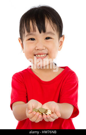 Asian Little Girl Holding Coins for Saving isloated on White Background - Stock Photo