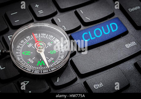 Compass on the black computer keybord with cloud text. - Stock Photo