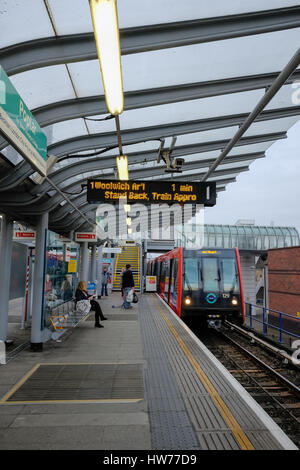 Poplar station, Docklands Light Railway (DLR), London. - Stock Photo
