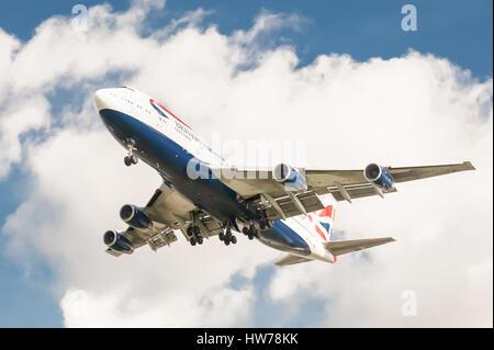British Airways Boeing 747 landing at London Heathrow Airport, UK - Stock Photo