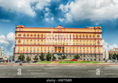 Lubyanka Building, iconic KGB former headquarters, landmark in central Moscow, Russia - Stock Photo