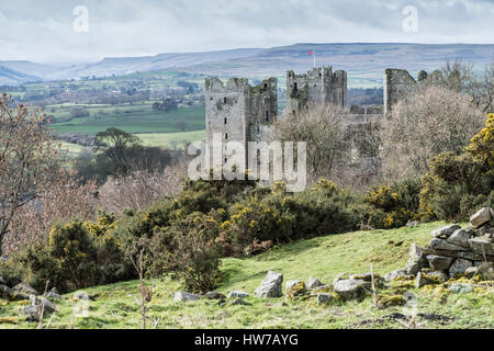 Bolton Castle, Castle Bolton, Wensleydale with a view up Bishopdale. This 14th century castle in the Yorkshire Dales - Stock Photo