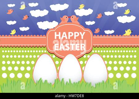Easter eggs icon. illustration. Easter eggs for design of Easter holidays on a background of grass and sky with - Stock Photo
