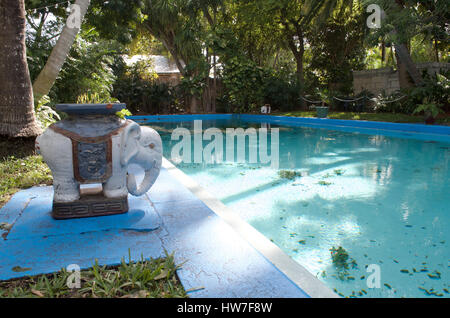 A view of the pool at Hemingway House in Key West. - Stock Photo