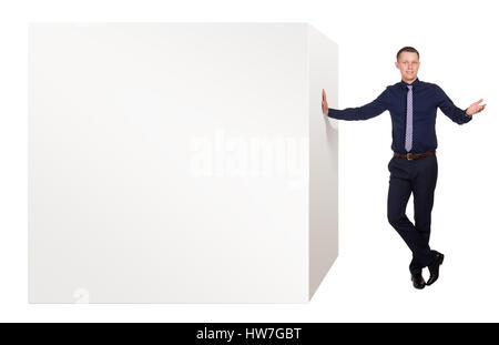 Young man explain advantages of this product, on white - Stock Photo