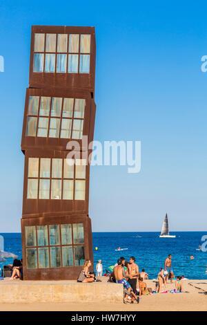 Spain Catalonia Barcelona Barceloneta Estel Ferit steel sculpture by the German artist Rebecca Horn and installed - Stock Photo