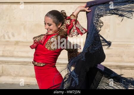 Spain, Andalusia, Seville, Santa Cruz district, Flamenco dancer - Stock Photo
