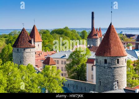 Estonia (Baltic States), Tallinn, Old Town, listed as World Heritage by UNESCO, View of Tallinn from Toompea hill - Stock Photo