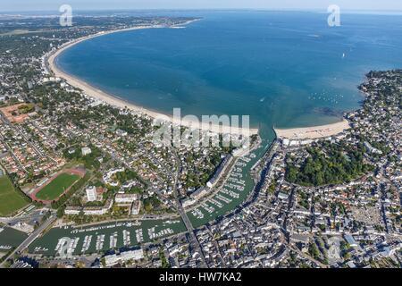 France, Loire Atlantique, La Baule, Le Pouliguen, Le Pouliguen marina and La Baule bay (aerial view) - Stock Photo