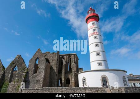 France Finistere Plougonvelin step on the road to Saint Jacques de Compostela Saint Mathieu cape Saint Mathieu lighthouse - Stock Photo