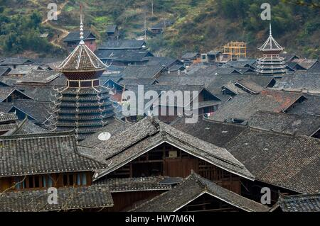 China, Guizhou, Zhaoxing, little capital of the Dong from the hilltop - Stock Photo