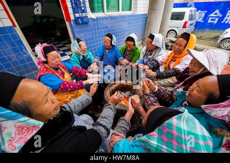 China, Guizhou, Jiu Xi village, community of the Tunpu, or ancient Han, who colonized the wild west from 14th to - Stock Photo