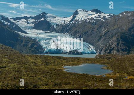 Portage Glacier in Chugach National Forest, Alaska. - Stock Photo