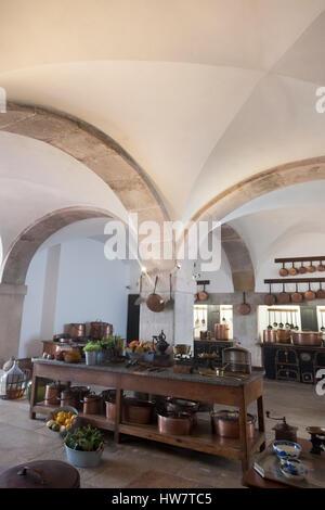 Sintra, Portugal: The Royal Kitchen at Pena Palace. - Stock Photo