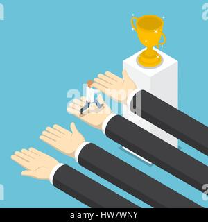 Isometric big hands help businessman to success, teamwork, business help and support concept - Stock Photo