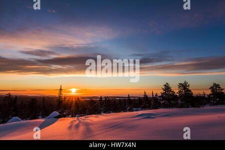 Winter sunrise in Martimoaapa, Finland - Stock Photo