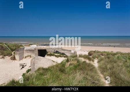 France, Manche, D-Day Beaches Area, WW2-era D-Day invasion Utah Beach, Sainte Marie du Mont, ruins of German bunkers - Stock Photo