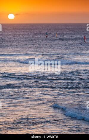 Australia, Western Australia, The Southwest, Prevelly, Surfers Point, windsurfers, dusk - Stock Photo