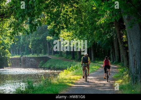 France, Morbihan, Gueltas, cyclist on the towpath along the canal from Nantes to Brest - Stock Photo