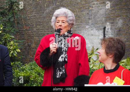 London, UK,18th March 2017.Betty Boothroyd former Speaker of the Commons sends marchers off with a defiant speech - Stock Photo