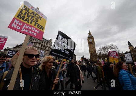 Racism. A march took place in London in protest against racism on UN Anti-Racism Day. Space for copy - Stock Photo