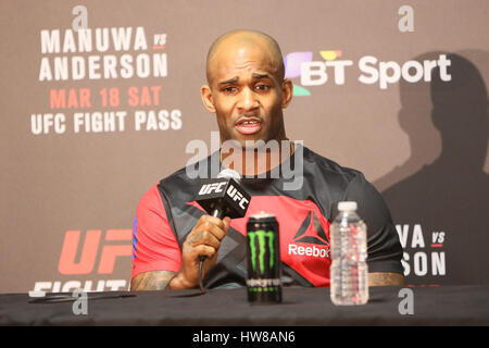 O2 Arena , London, England. 19 March 2017. Jimi Manuwa takes questions at the post fight press conference during - Stock Photo