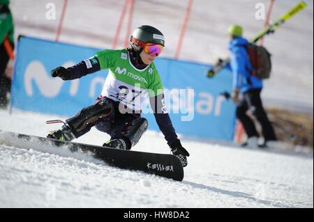 Sierra Nevada, Spain. 16th Mar, 2017. Eri Yanetani (JPN) Snowboarding : Eri Yanetani of Japan competes in the 2017 - Stock Photo