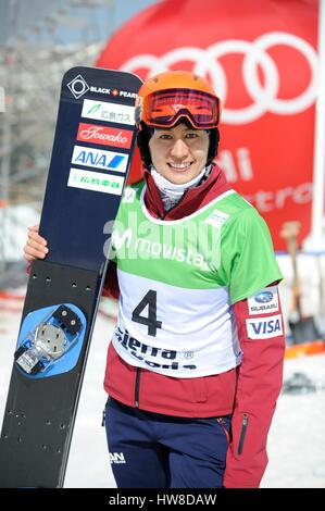 Sierra Nevada, Spain. 16th Mar, 2017. Tomoka Takeuchi (JPN) Snowboarding : Tomoka Takeuchi of Japan poses during - Stock Photo