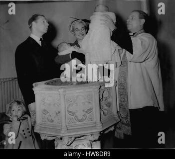 Apr. 04, 1954 - Band Leader's Twins Christened: The christening took place yesterday at Holy Trinity, Paddington, - Stock Photo