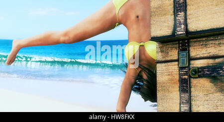 woman hip hop dancing on the beach - Stock Photo