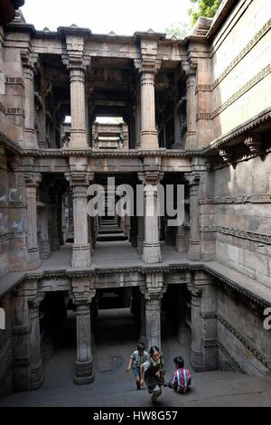 India, Gujarat State, Ahmedabad, listed as World Heritage by UNESCO, stepwell of Dada Hari Vav or Hari Ni Vav - Stock Photo