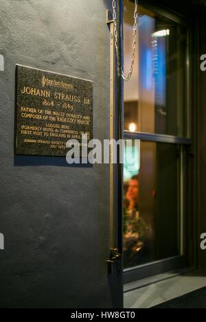England, London, Soho, plaque honoring musician and composer Johan Strauss the First, who stayed in this building - Stock Photo