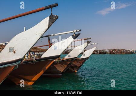 Qatar, Al-Khor, dhows in the fishing port - Stock Photo