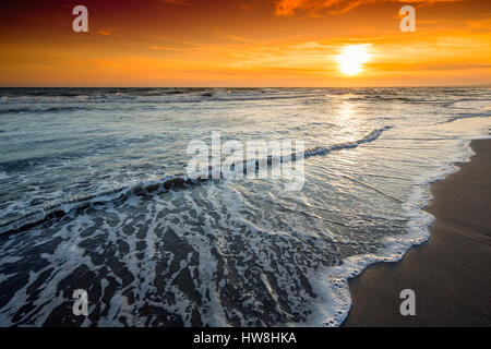Beach at sunset, Marbella. Malaga province. Costa del Sol, Andalusia Southern Spain.Europe - Stock Photo