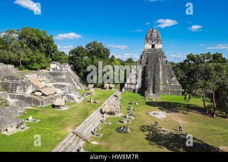 Guatemala, Peten department, Tikal National Park, a UNESCO World Heritage site, Gran Plaza, Temple I or Temple of - Stock Photo