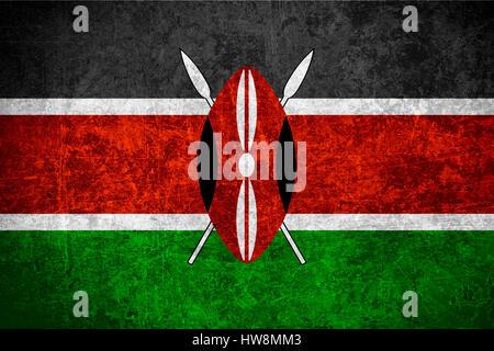 flag of Kenya or Kenyan banner on scratched vintage texture - Stock Photo