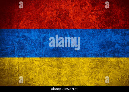 flag of Armenia or Armenian banner on scratched vintage texture - Stock Photo